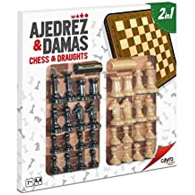 Tab. ajedrez-damas madera con acc. 40x40 cm.