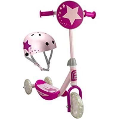 Patinete 3 ruedas luminosas led y casco bol glitt